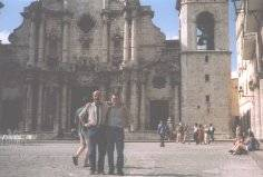 Bruno and John in front of Havana's Cathedral